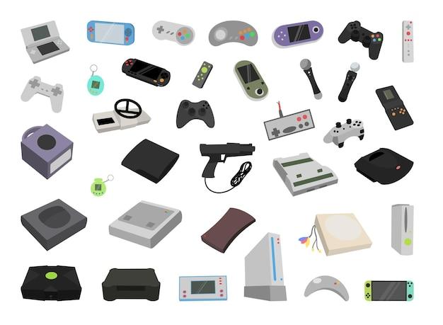 Verzameling gameconsoles en gadgets.