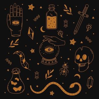 Verzameling geïllustreerde esoterische elementen