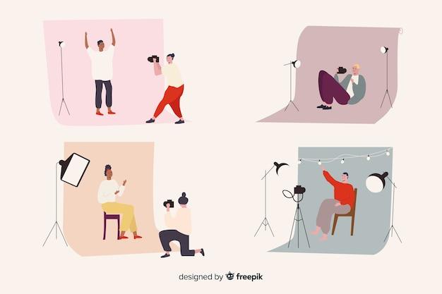 Verzameling geïllustreerde fotografen die verschillende opnamen maken