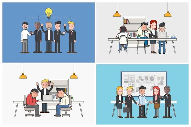 Verzameling geïllustreerde kantoormedewerkers