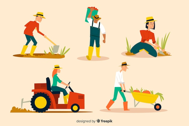 Verzameling geïllustreerde landarbeiders