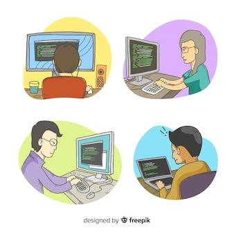 Verzameling geïllustreerde programmeurs aan het werk
