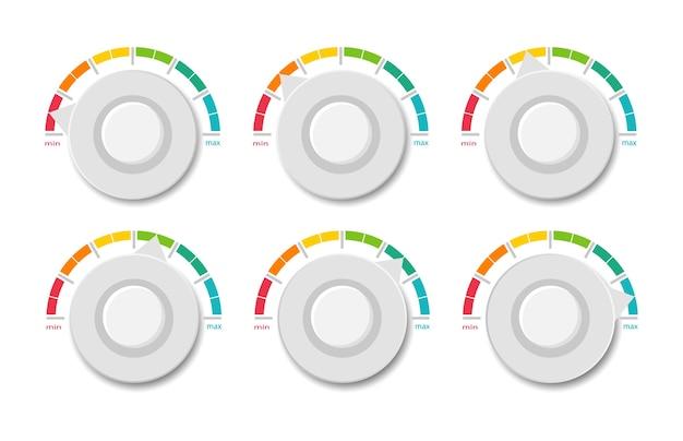 Verzameling gekleurde snelheidsmeters. indicator schaal.