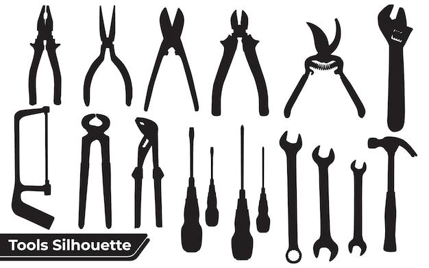 Verzameling gereedschappen silhouetten
