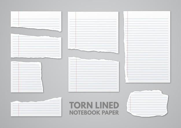 Verzameling gescheurd gelinieerd notitieboekpapier