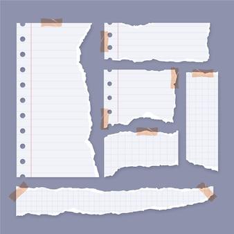 Verzameling gescheurde papieren met plakband