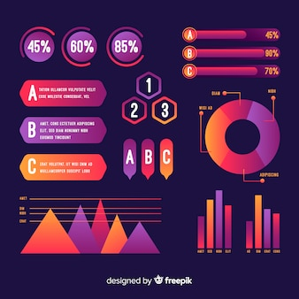 Verzameling gradiënt infographic elementen