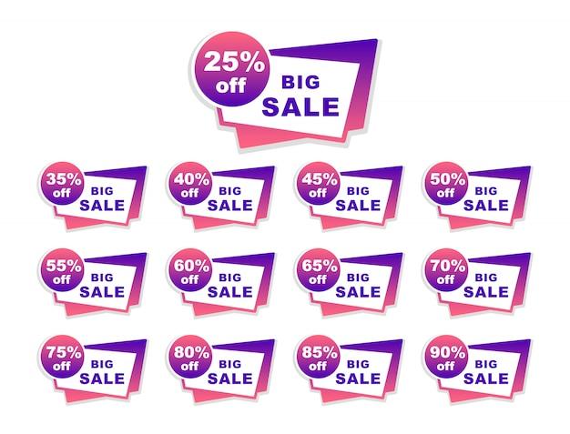 Verzameling grote verkoop tags. procentuele korting.
