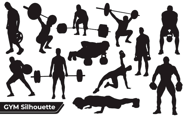 Verzameling gym- of oefeningssilhouetten in verschillende poses