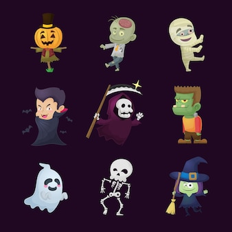Verzameling halloween-personages