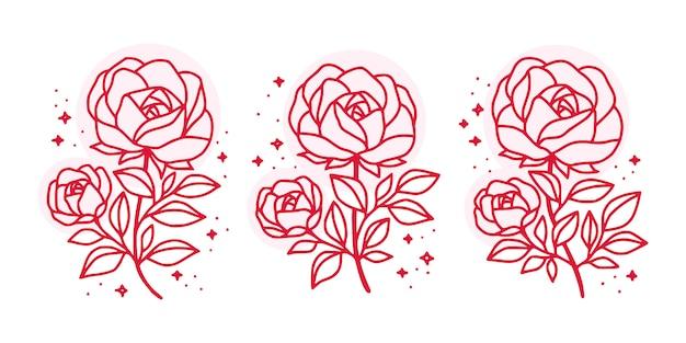 Verzameling handgetekende botanische roze roze bloemelementen voor vrouwelijk schoonheidslogo
