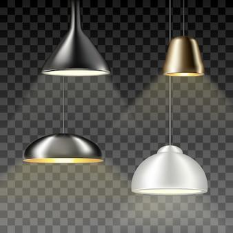 Verzameling hangende kroonluchters, lampen en gloeilampen