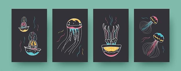 Verzameling hedendaagse kunstkaart met kleurrijke medusa's