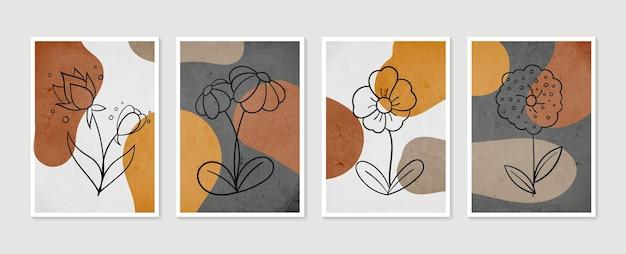 Verzameling hedendaagse kunstposters. botanische wall art set. minimale en natuurlijke kunst aan de muur.