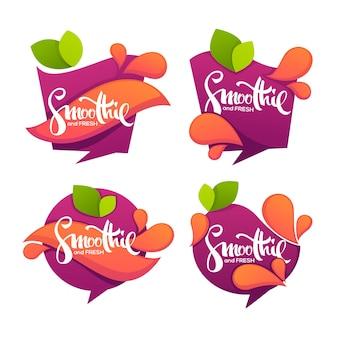 Verzameling heldere en glanzende stickers, emblemen en banners voor smoothie en sap