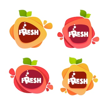 Verzameling heldere en glanzende stickers, emblemen en banners voor vers fruit en sinaasappelsap