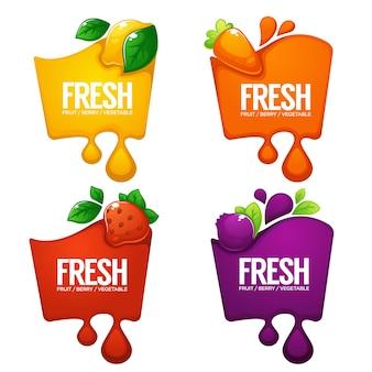 Verzameling heldere frames, stickers, emblemen en banners voor groenten, fruit en vers bessensap