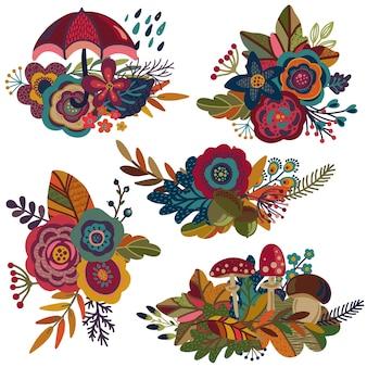 Verzameling herfstboeketten herfstsamenstellingen voor wenskaarten uitnodigingen posters