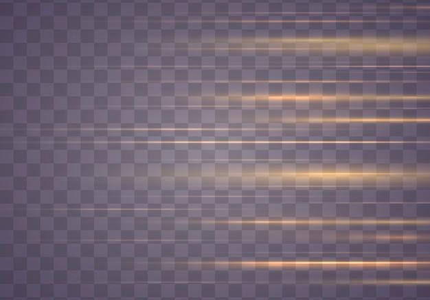 Verzameling horizontale lensfakkels