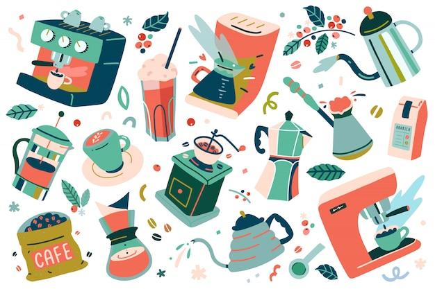 Verzameling hulpmiddelen en gebruiksvoorwerpen voor het zetten van koffie