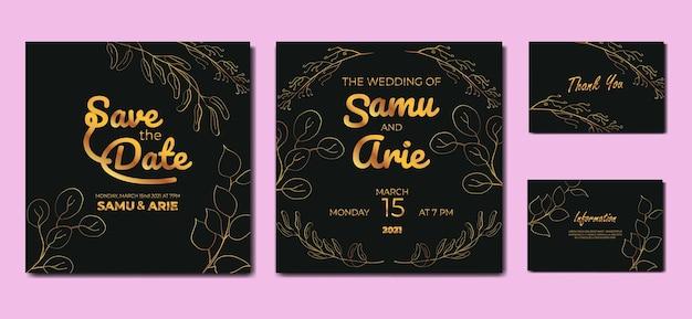 Verzameling huwelijksuitnodigingen monoline bloem halverwege de eeuw boho-stijl
