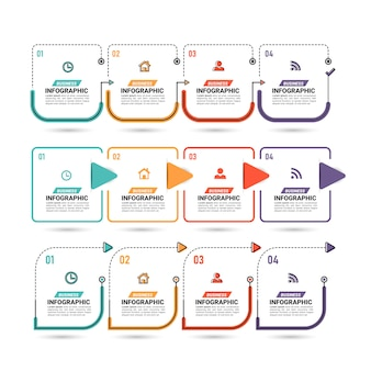 Verzameling infographic-stappen op plat ontwerp