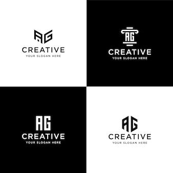 Verzameling initialen ag logo ontwerpsjabloon