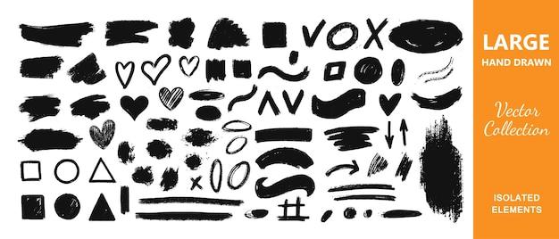 Verzameling inkt grunge vuile penseelstreken