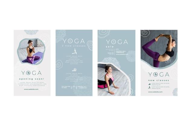 Verzameling instagram-verhalen voor het beoefenen van yoga
