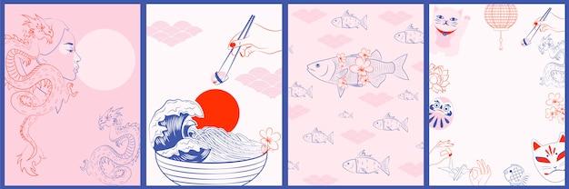 Verzameling japanse illustraties, wabi sabi-concept. minimalistische objecten