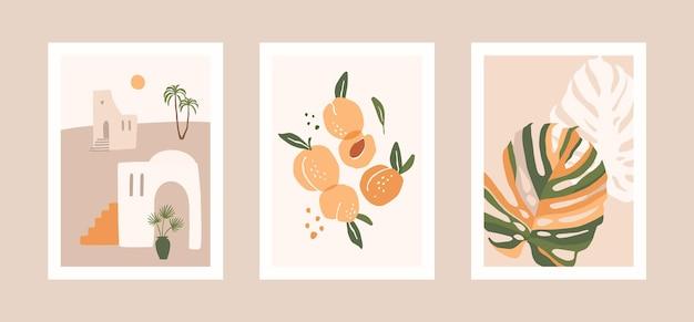 Verzameling kaarten met bladeren, fruit en landschap