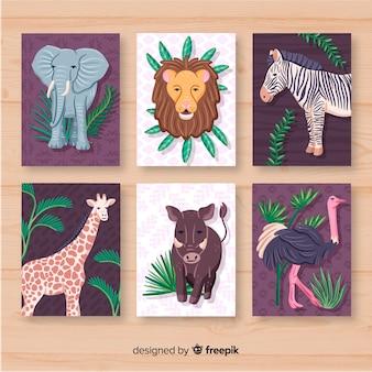 Verzameling kaarten van wilde dieren