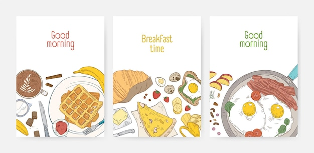 Verzameling kaartsjablonen met smakelijke, gezonde ontbijtmaaltijden en ochtendmaaltijden -