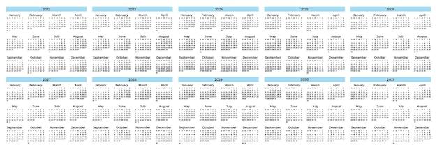 Verzameling kalendersjabloon