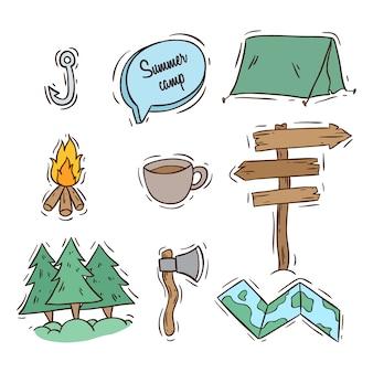 Verzameling kamp pictogrammen