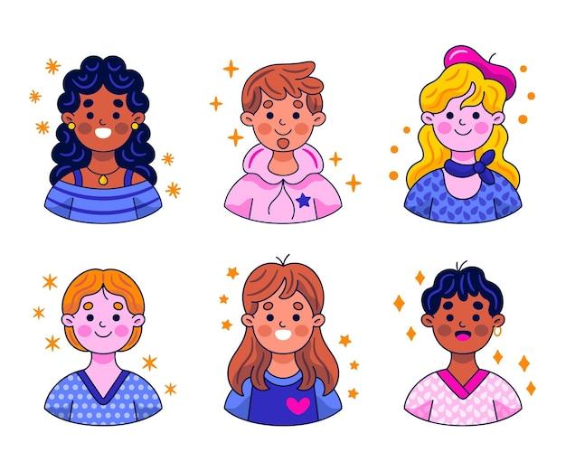 Verzameling kawaii avatar-stickers