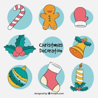 Verzameling kerst elementen tekeningen