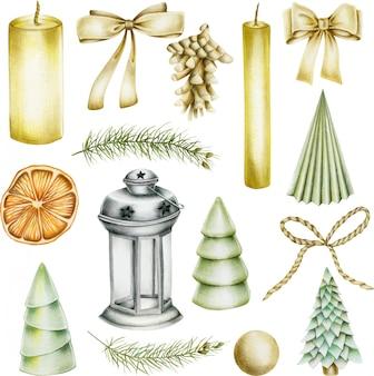 Verzameling kerstartikelen (kaarsen, strikken, dennenappel, kerstboom, gedroogde sinaasappel, lantaarn)