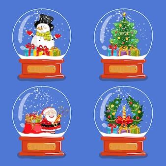 Verzameling kerstglas sneeuwbollen