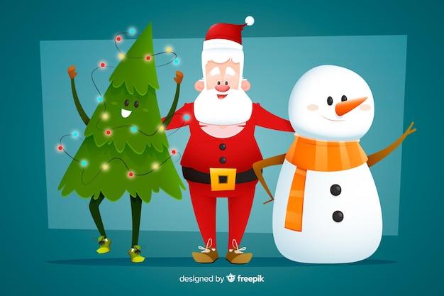 Verzameling kerstpersonages in plat ontwerp