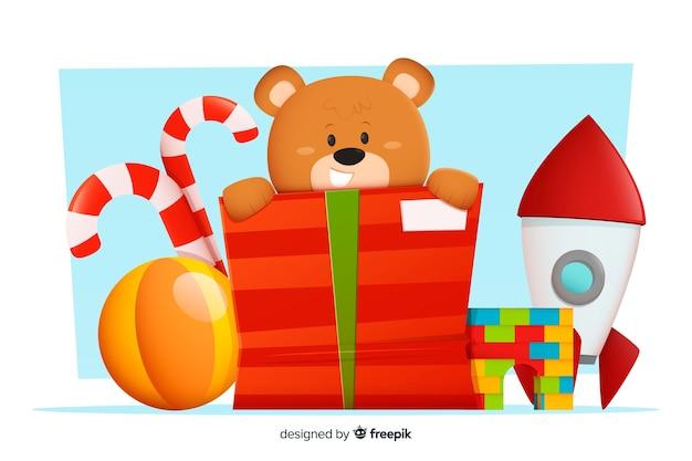 Verzameling kerstspeelgoed in plat ontwerp