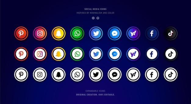 Verzameling kleurrijke en glanzende social media iconen.