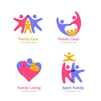 Verzameling kleurrijke familie logo's