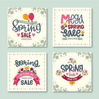 Verzameling kleurrijke lente verkoop berichten