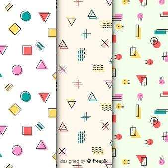 Verzameling kleurrijke memphis-patronen