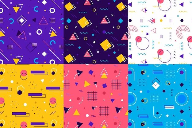 Verzameling kleurrijke memphis patronen