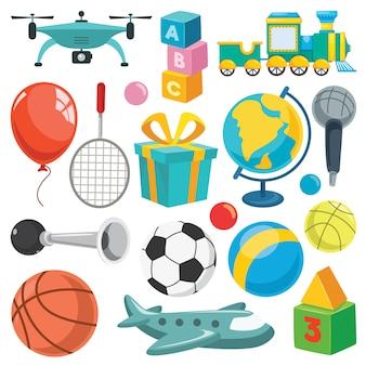 Verzameling kleurrijke speelgoed en objecten