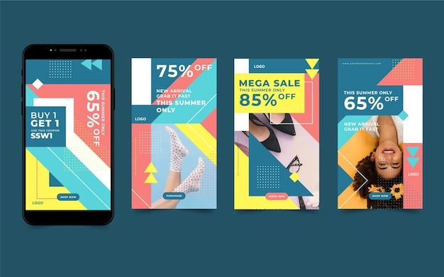 Verzameling kleurrijke verkoop instagram verhalen