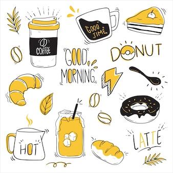 Verzameling koffie-elementen met doodle stijl