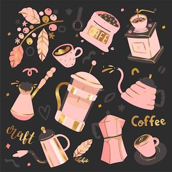Verzameling koffie illustraties